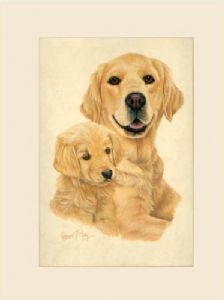 Original Golden Retriever & Pup Painting